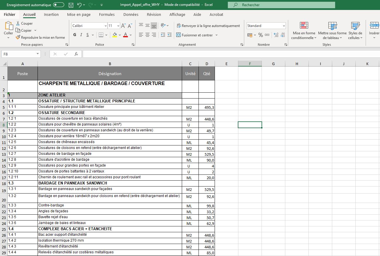 Ficher Excel appel offre DPGF